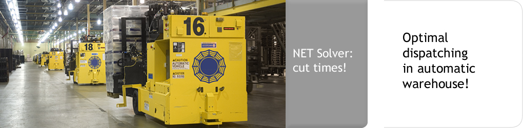 Net Solver: cut times! Optimal dispatching in automatic warehouse!