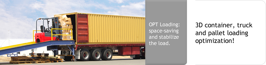 OPT Loading: space-saving and stabilize the  load. 3D container, truck and pallet loading optimization!